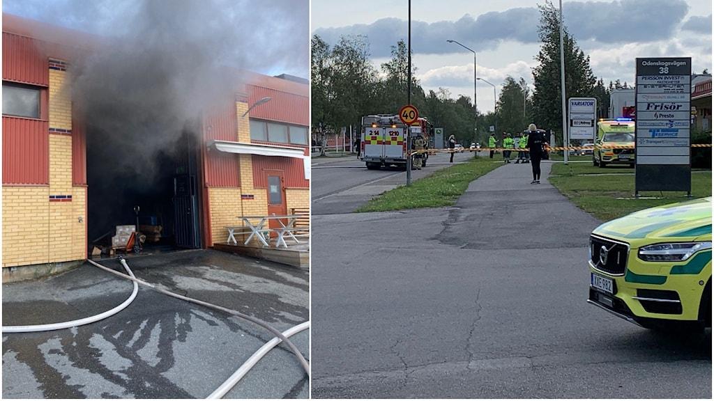 Brand i industribyggnad.