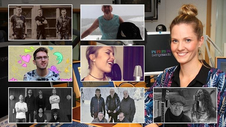Montage av artister att rösta på till P4-toppens årslista 2018, samt programledare Anna Ulin.