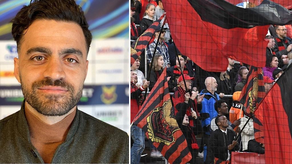 Porträttbild på man med mörkt hår till vänster och publik med ÖFK-flaggor till höger.