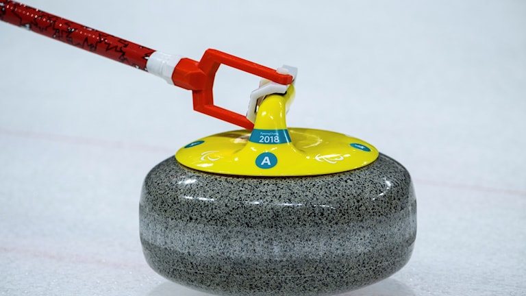 A stone is thrown during the Wheelchair Curling Round Robin Session 6 at the Gangneung Curling Centre at the Pyeongchang 2018 Paralympic Winter Games in Gangneung, South Korea, Monday, March 12, 2018. (Thomas Lovelock/OIS/IOC via AP)