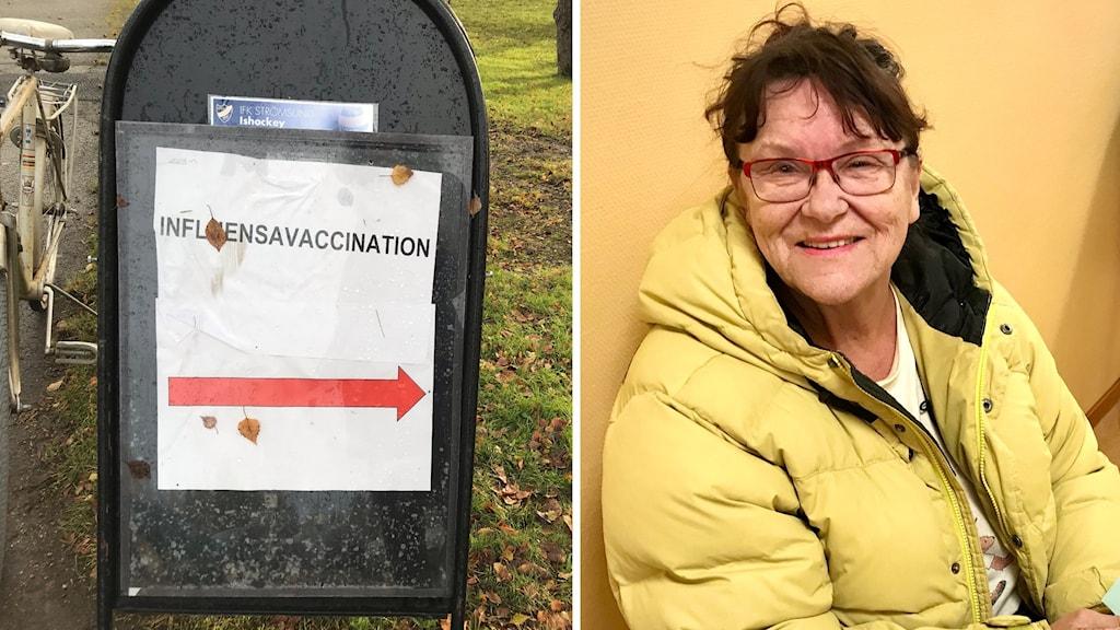 En skylt med texten influensavaccin och en äldre kvinna i gul täckjacka