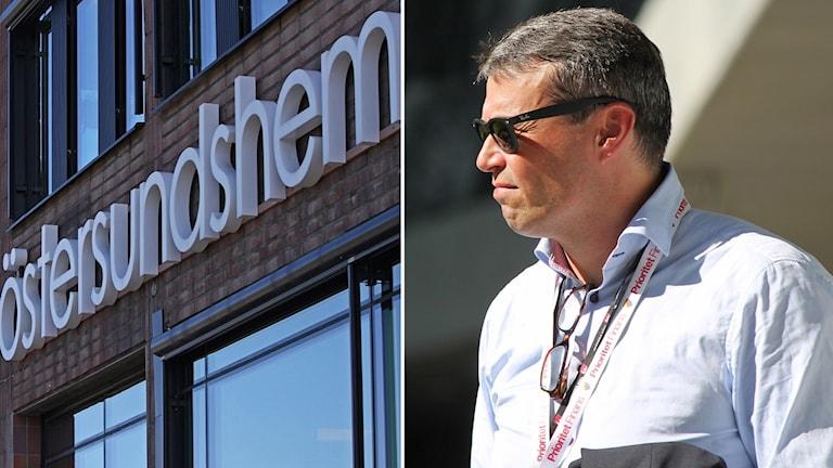 Östersundshem fasadskylt samt mörkhårig man i solglasögon och ljus skjorta