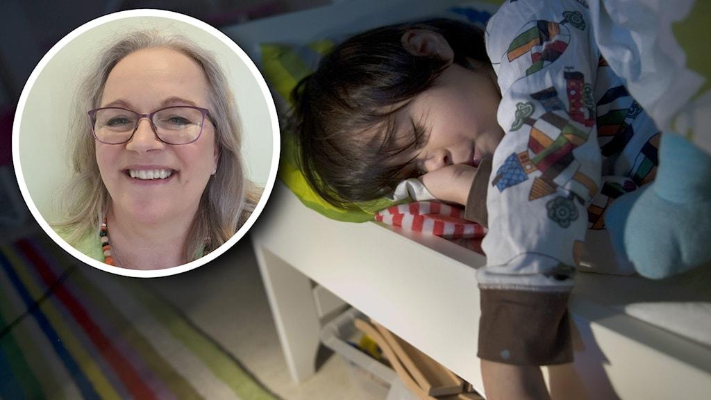 Porträttbild på kvinna infälld över större bild på ett sovande barn.