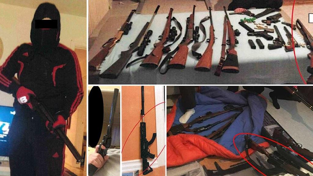 en maskerad person med vapen och flera bilder med många vapen