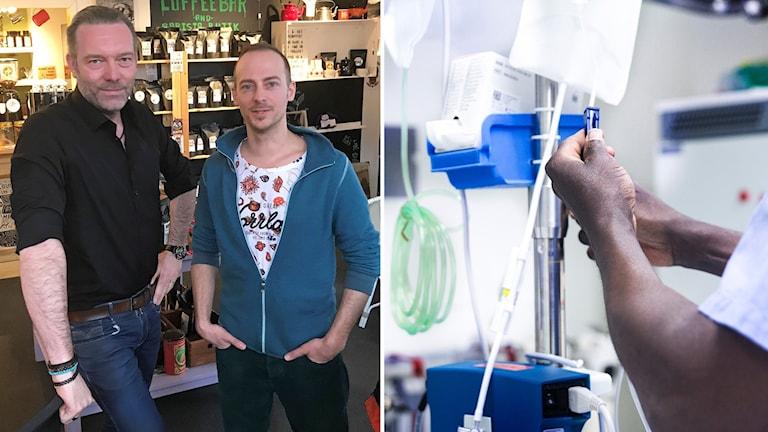 Två bilder: Två män står i en kaffebar och en vårdanställd går i ordning en droppställning