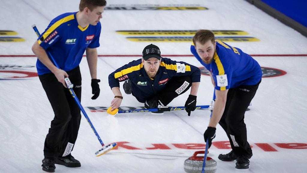 Tre av spelarna i Sveriges curlingslandslag åker på isen under en match.