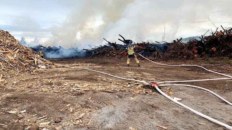 Flisbrand vid Jämtkraft i Östersund.