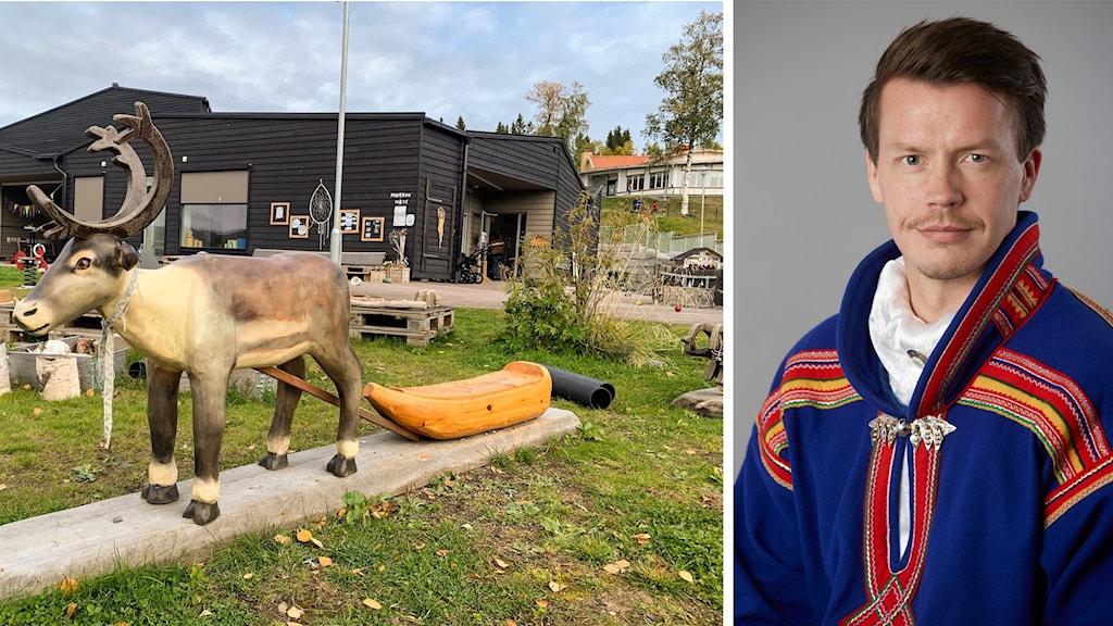 splitbild. Förskola utomhus, med lekplats i förgrunden, till vänster. Porträtt på man till höger.