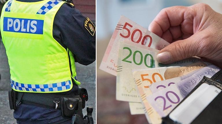 Två bilder bredvid varandra - en polis och sedlar som hålls i en hand
