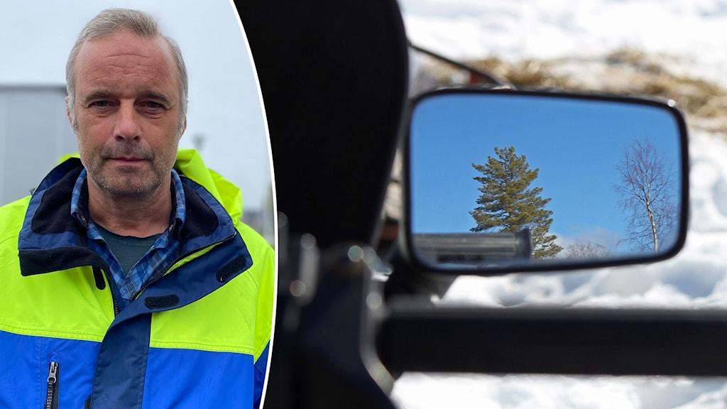 En man i blå och gul jacka samt närbild på backspegeln på en snöskoter där ett träd speglas