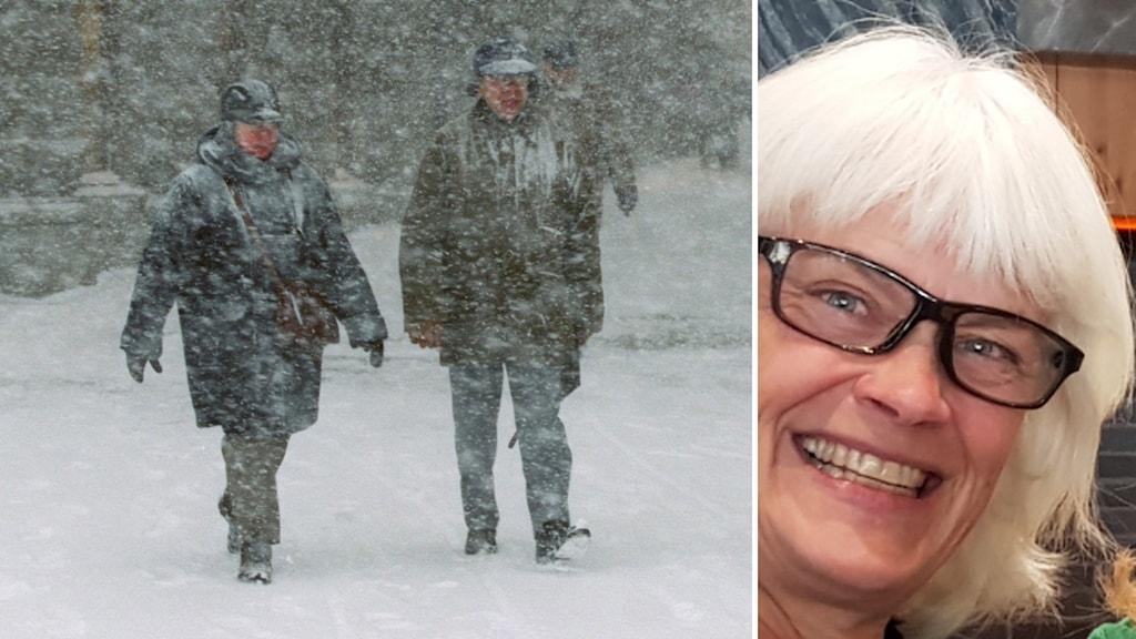 Två som går i snöoväder och Marie Nordgren i Åre anestesisjuksköterska