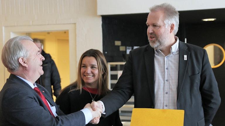 Socialdemokraterna Sven Erik Bucht, Anna-Caren Sätherberg och Peter Bergman