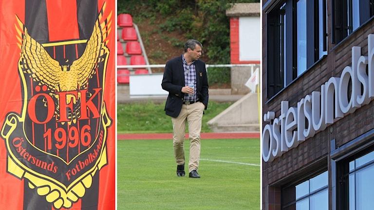 Tre bilders kollage: Östersunds Fotbollsklubb, Daniel Kindberg och Östersundshem