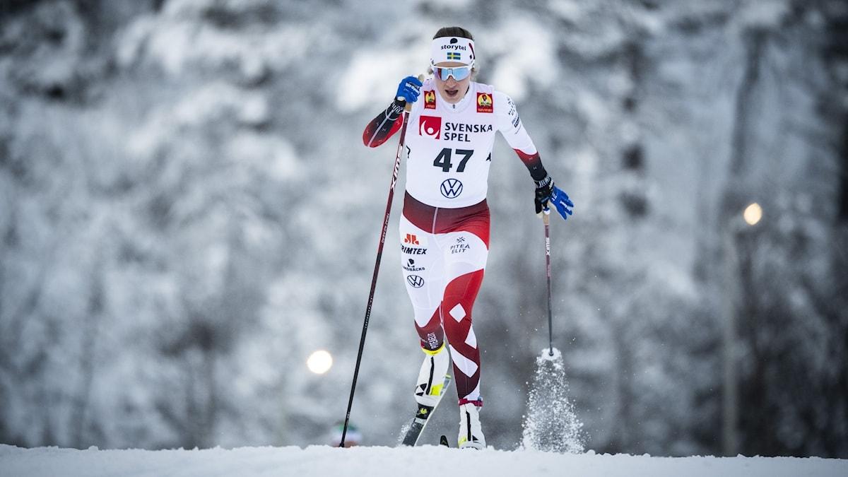 Kvinnlig längdåkare i tävlingsdräkt åker längdskidor i klassisk stil
