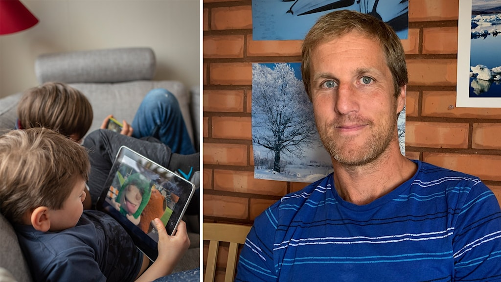 På en bild syns två barn som halvligger i en soffa med varsin surfplatta. Intill en bild på en man i blå t-shirt.
