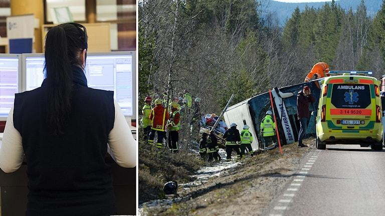 En larmoperatör på SOS alarm och en bild på ambulanspersonal på olycksplatsen.