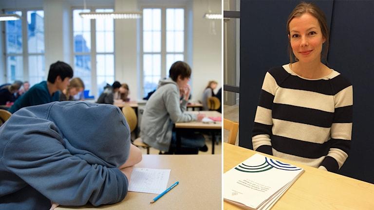 En person ligger med huvudet mot en skolbänt. En kvinna sitter vid ett bord.