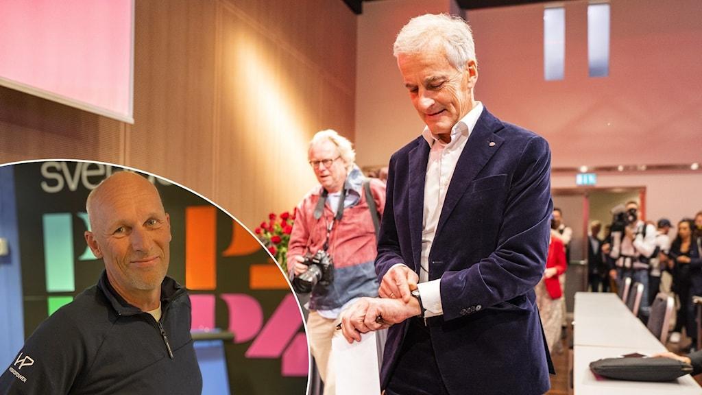 Två bilder: En man står i en Sveriges Radio entré och en man i kostym går upp på en scen.