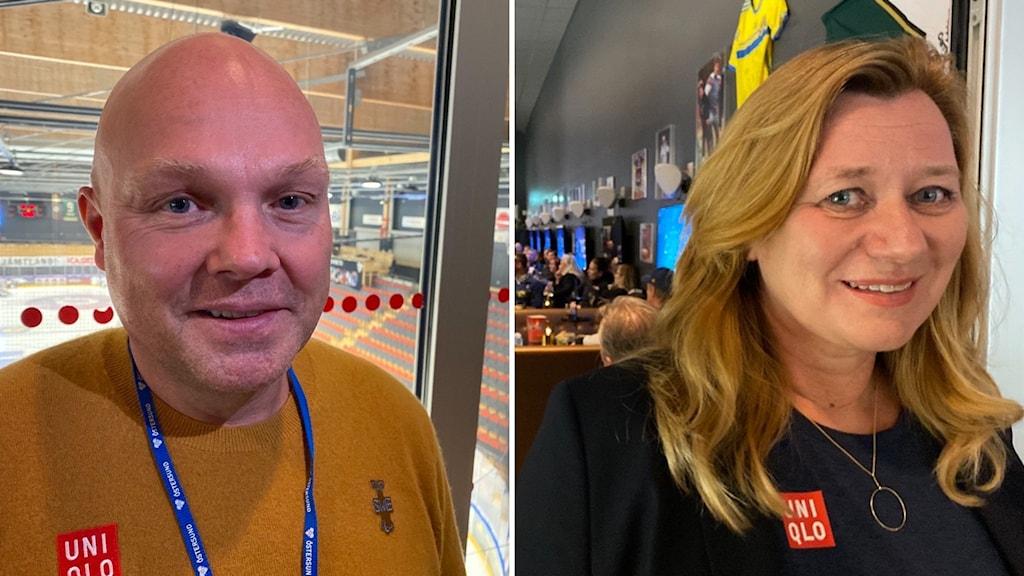 Två bilder, en med man med lite hår, andra bilden kvinna som är blond