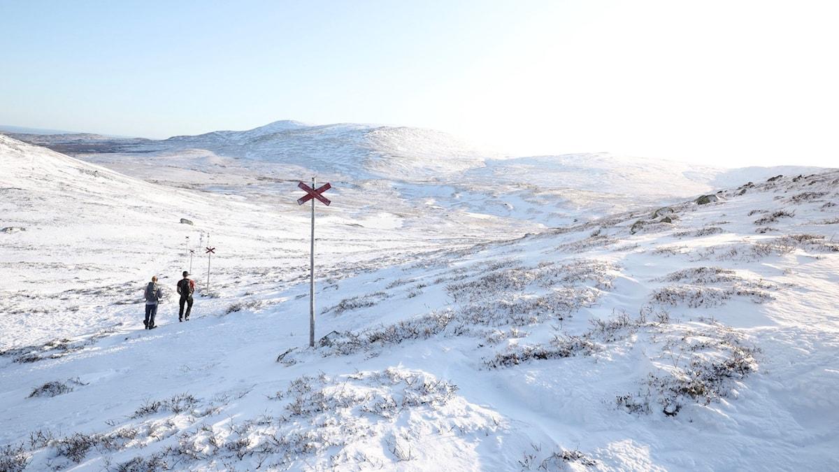 Två personer går längs en vinterled i fjällen. Årets första snö har precis fallit och det är en solig vinterdag. Personerna är på väg upp på Drommen i Bydalsfjällen.