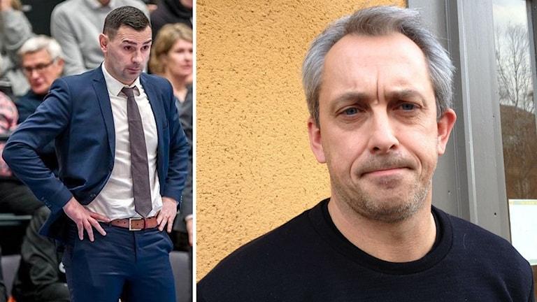 Två bilder: Man i blå kostym står med händerna på höften framför publikläktare samt porträtt man med kort, gråsprängt hår framför husvägg
