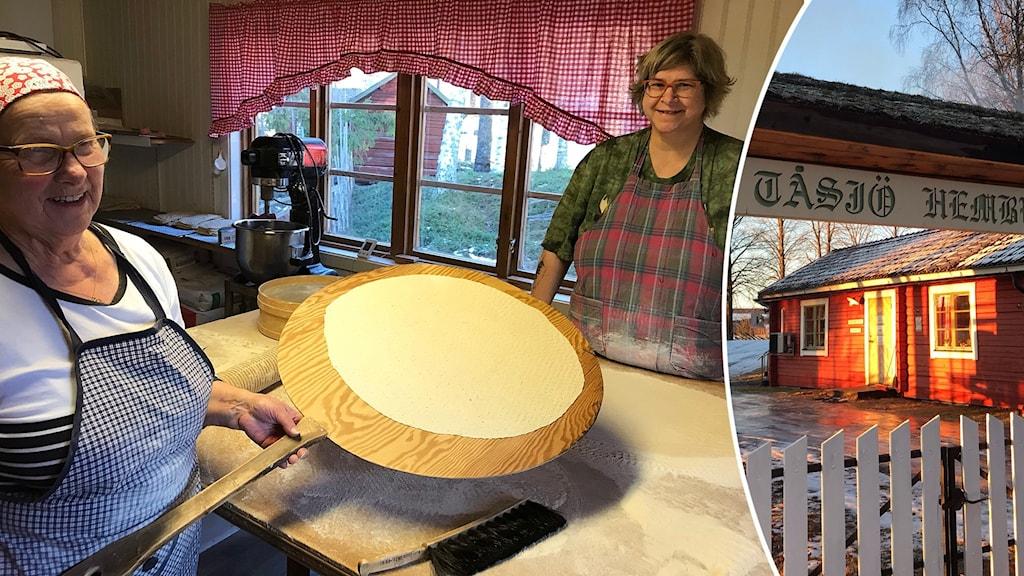 Två kvinnor bakar tunnbröd och infälld bild rött hus på hembygdsgård