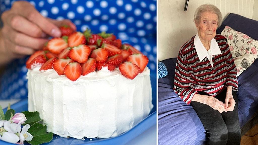 Två bilder: Gräddtårta med jordgubbar samt 100-årig kvinna i byxor, blus och randig tröja sitter på sin säng