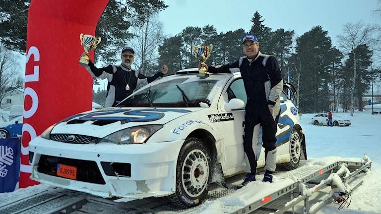 Vinter gillar duon Lennart Nilsson och Michael Wikström och det blev seger i 4WD Övriga. 180224. Foto: Annemo Friberg