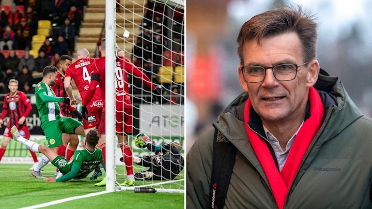 Två bilder: Manliga fotbollsspelare i matchsituation vid ett fotbollsmål samt porträttbild medelålders man med ytterkläder