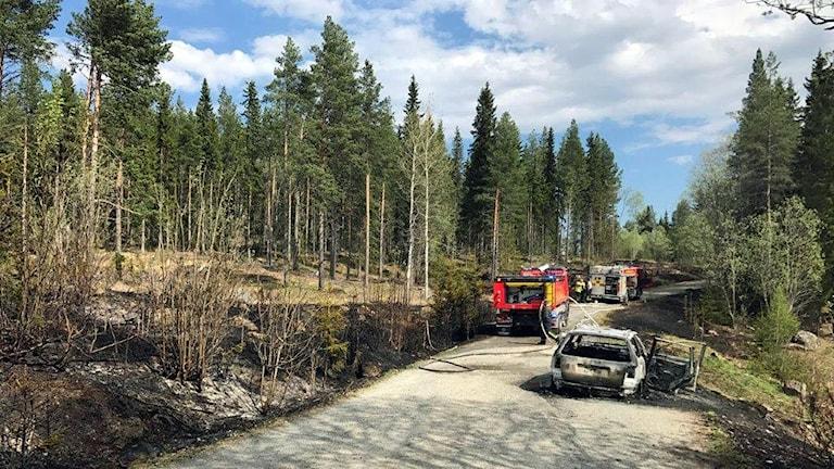 Bilbrand som blev en gräsbrand. Grytan, 180516. Foto: Jämtlands Räddningstjänstförbund