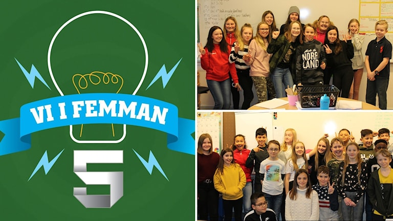 Tre bilders kollage: Vi i femman-logotyp på grön bakgrund samt två klassfoton bredvod