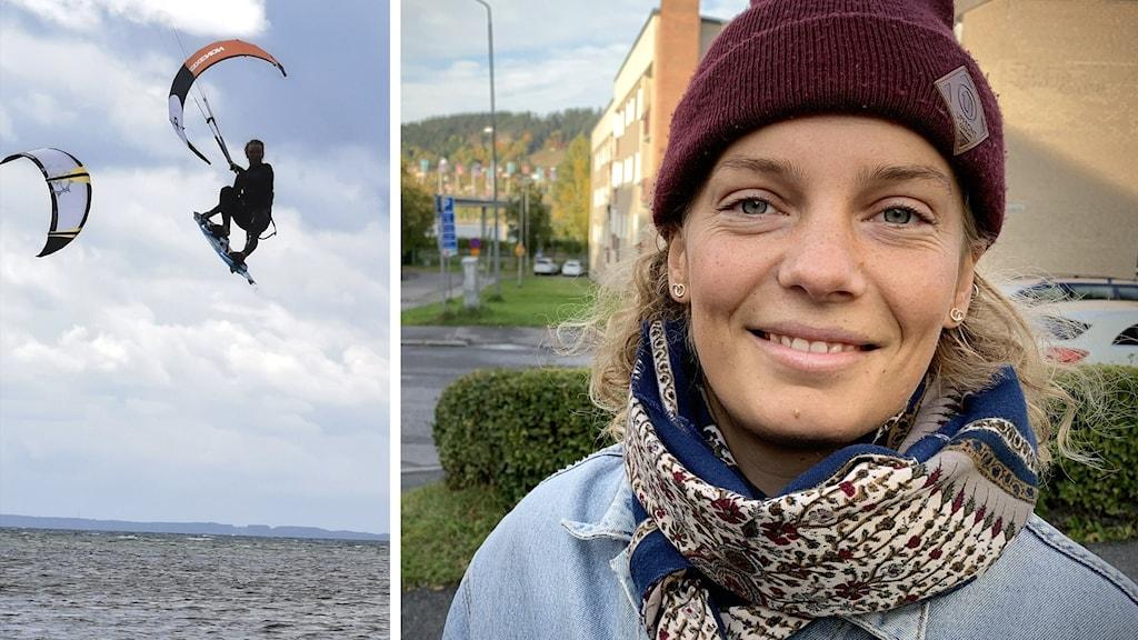 En bild på en kitesurfare högt uppe i luften ovan vatten tillsammans med en bild på en leende kvinna i röd mössa och scarves
