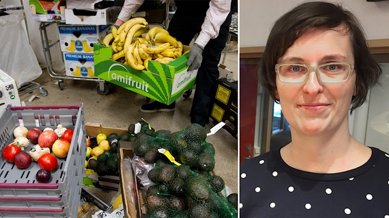 Grönsaker och frukter som ligger i korgar.