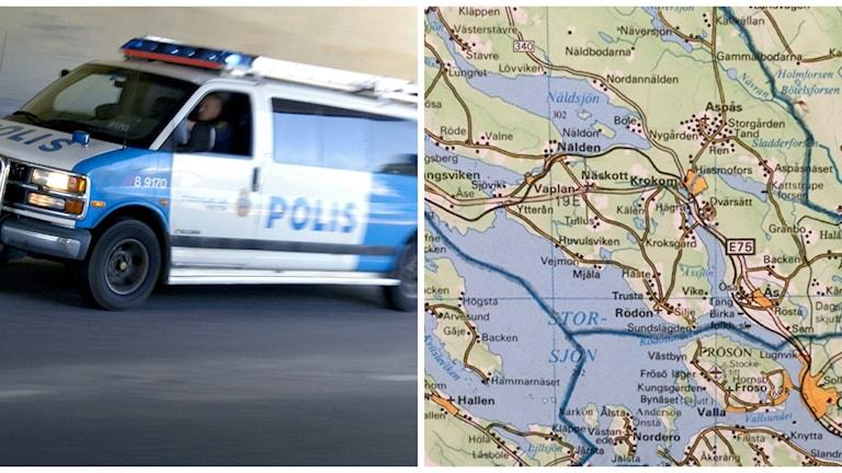 Två bilder: polisbil i utryckning samt karta över Jämtlands län