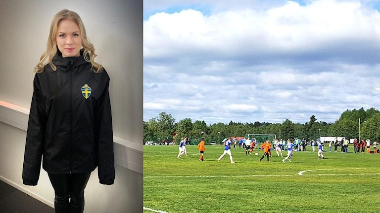 Fotbollsdomaren Michaela Backlund efterlyser domarkläder i damstorlek.