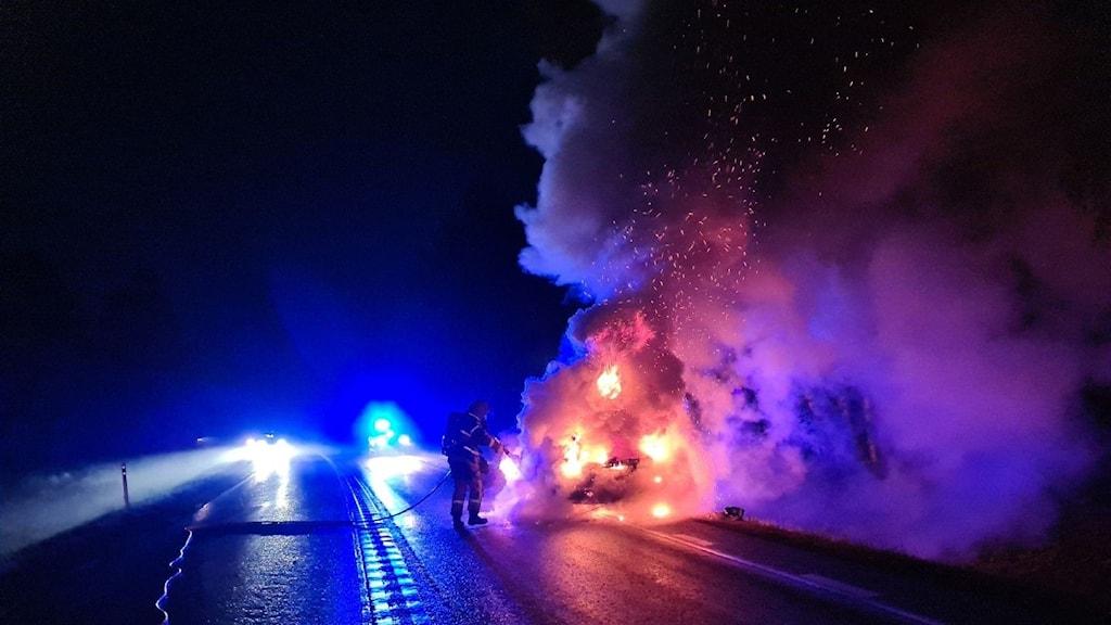 Bilbrand, riksväg 87, Krångede