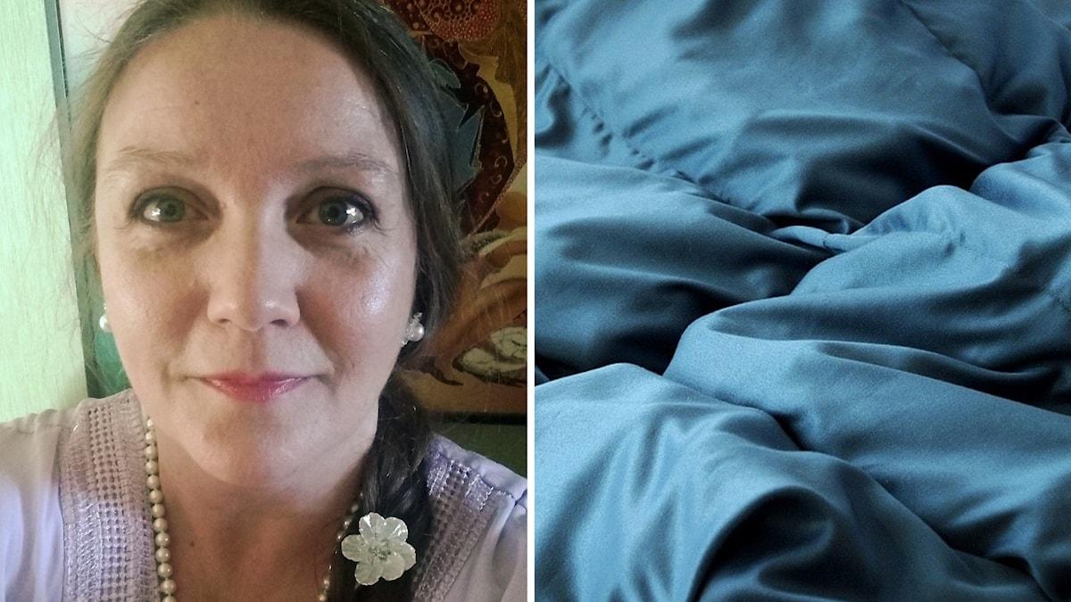 en kvinna med mörkt hår i fläta och en bild på ett blått tjockt täcke