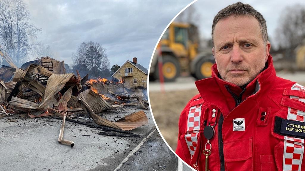 Till vänster en nedbrunnen byggnad och till höger en bild på en man från räddningstjänsten med en röd jacka.