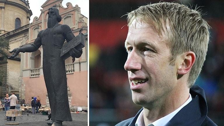 Kollage av Östersunds Fotbollsklubbs tränare Graham Potter och staty i Lviv Ukraina