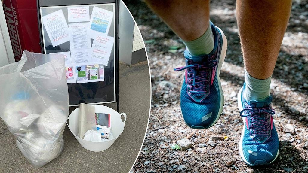 Två bilder: skräp i påse vid informationsskylt samt underben och fötter på joggande man