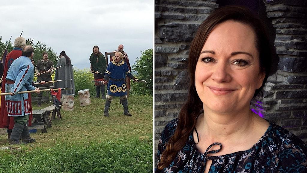 Två bilder: Vikingaklädda skådespelare med mantlar, spjut och svärd på utomhusscen i sommargrönska samt porträttbild kvinna med långt, brunt hår i fläta