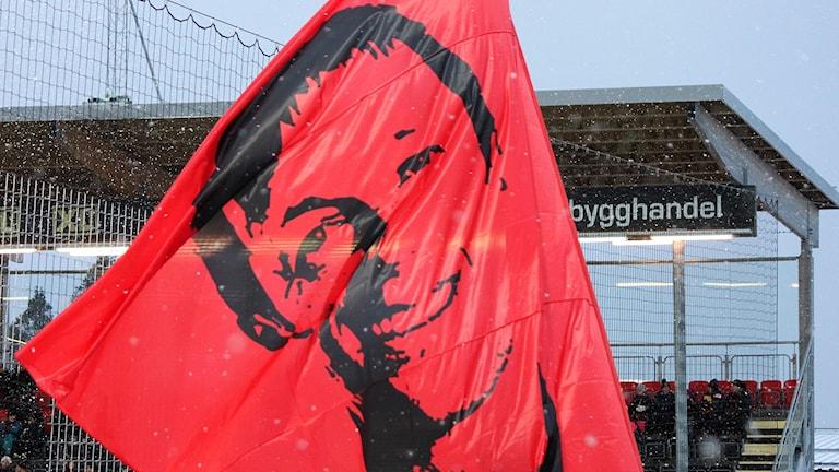 Röd flagga med porträttbild av ÖFK-tränaren Graham Potter