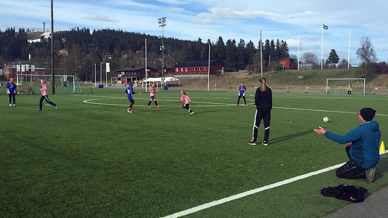 Fotbollsmatch mellan två unga tjejlag. Ung tjej är domare. Tränare sitter på huk på gräset. På den här matchen var det ingen som skrek elaka saker till domaren.