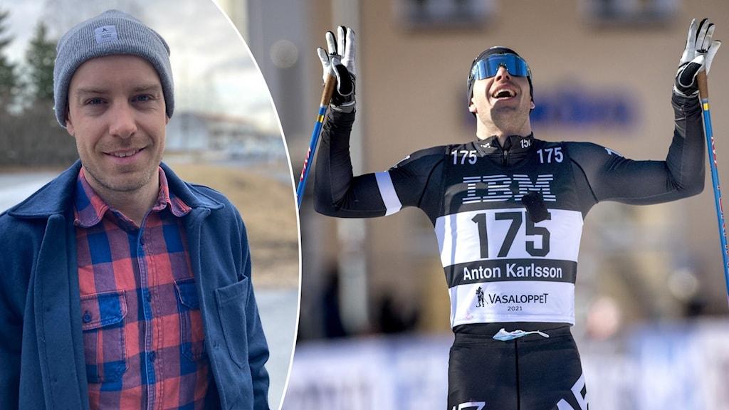 Två bilder: Man i blå jacka och grå mössa står utomhus samt manlig skidåkare i svart tävlingsdräkt höjer armar och stavar i luften vid målgång i tävling
