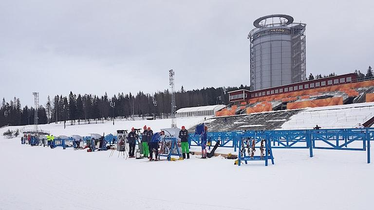 Skidskytteträning på Östersunds skidstadion