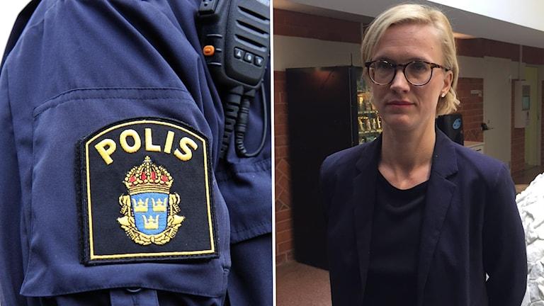 Närbild polismans skjortärm med emblem samt kommunikationsradio och åklagare Frida Molander. Foto: Lotta Löfgren och Marcus Frånberg