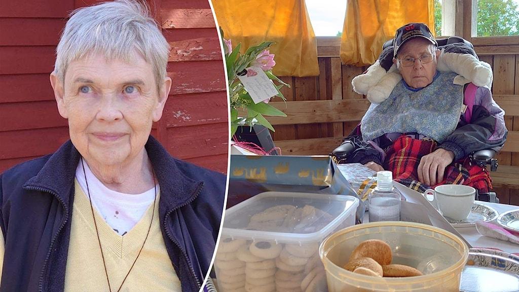 Två bilder, en över en äldre kvinna med gul tröja och en på en äldre man som sitter i en rullstol med en filt över sig.