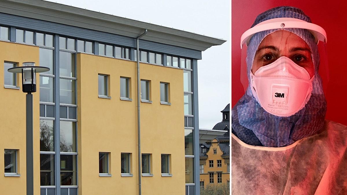 Byggnad + sjukvårdsperson med mask
