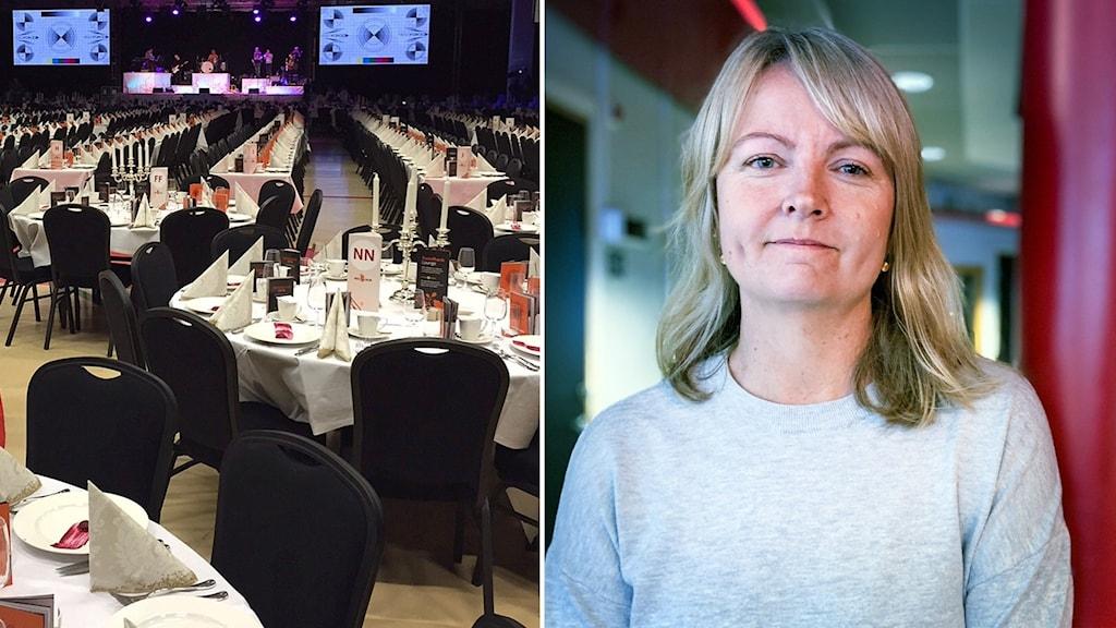 Till vänster långbord som är dukade och till höger en kvinna med blont hår och grå tröja.