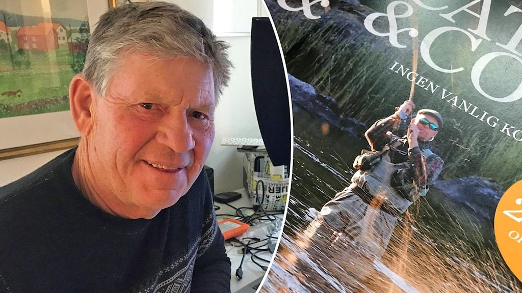 En man som sitter vid en dator och ler mot kameran och en närbild på ett bokomslag där en man fiskar.